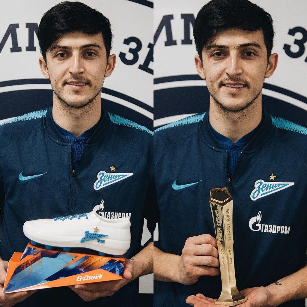 مهاجم ملی پوش کشورمان جایزه بهترین بازیکن ماه مارس تیم فوتبال زنیت سن پترزبورگ را ذریافت کرد.