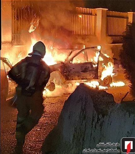 آتش سوزی پژو 405 تهران