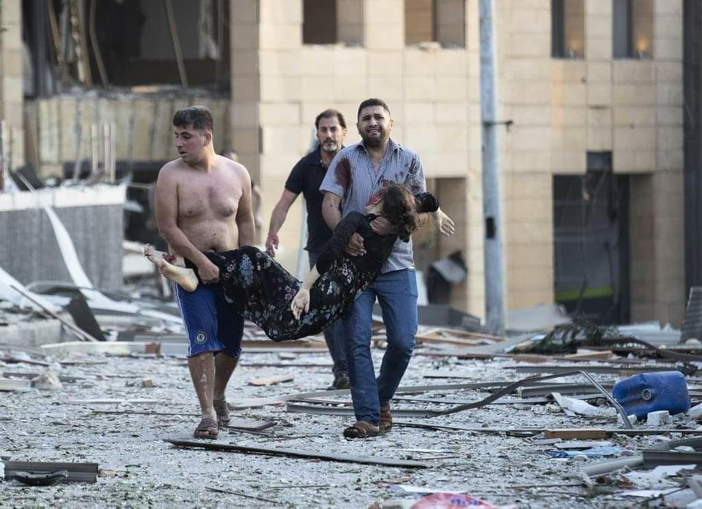 تصویر غم انگیز  از یکی از قربانیان انفجار بیروت