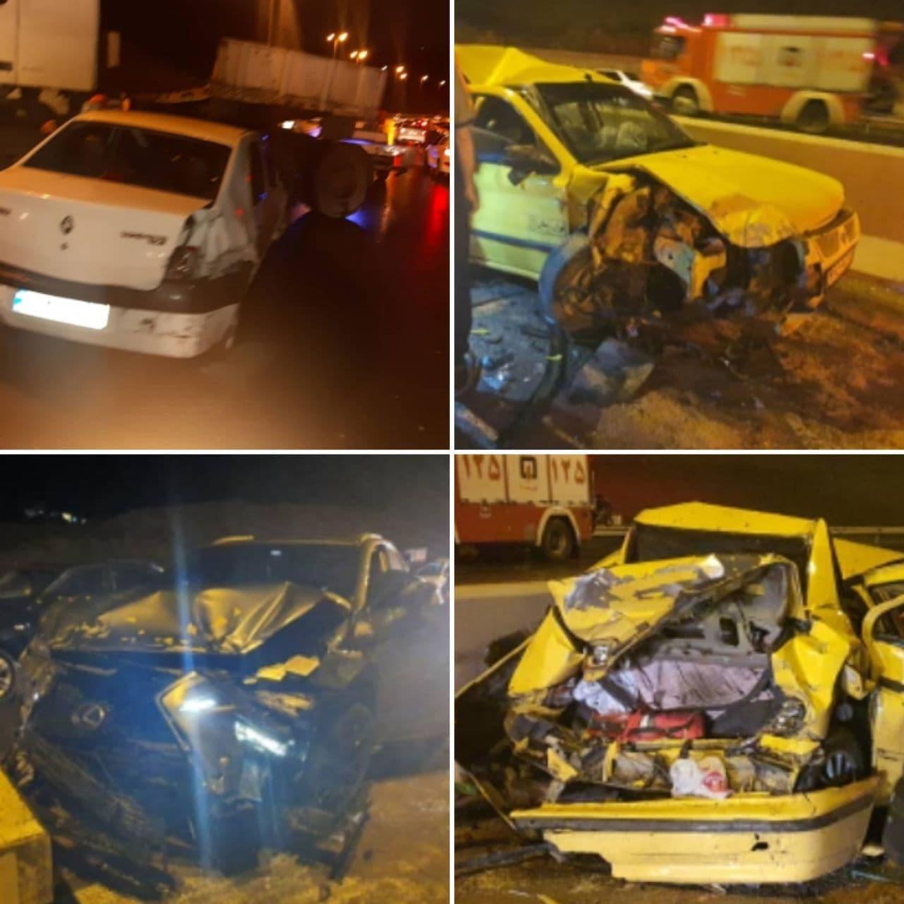 تصادف زنجیره ای در آزادراه تهران پردیس