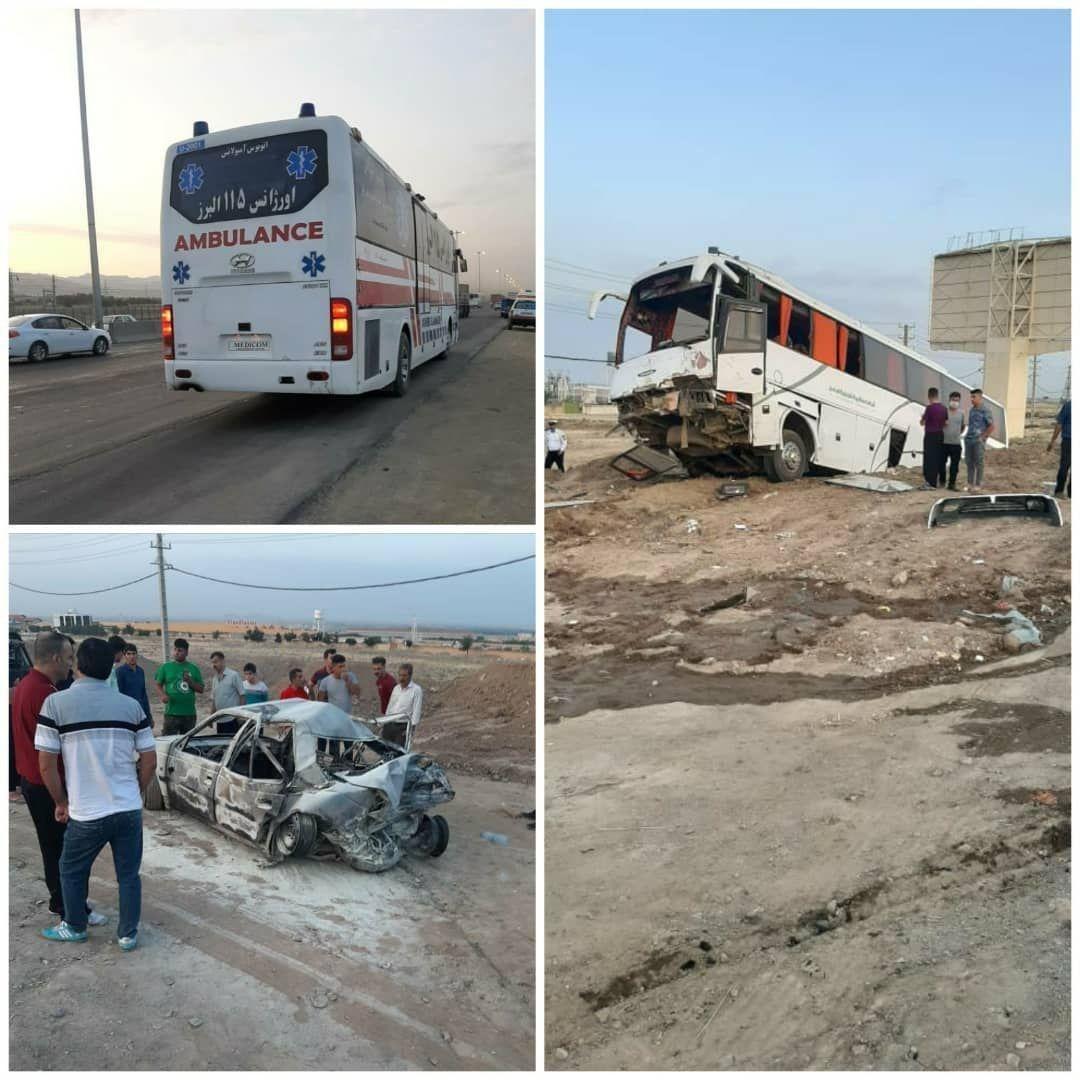 تصادف اتوبوس با 2 پژو پارس