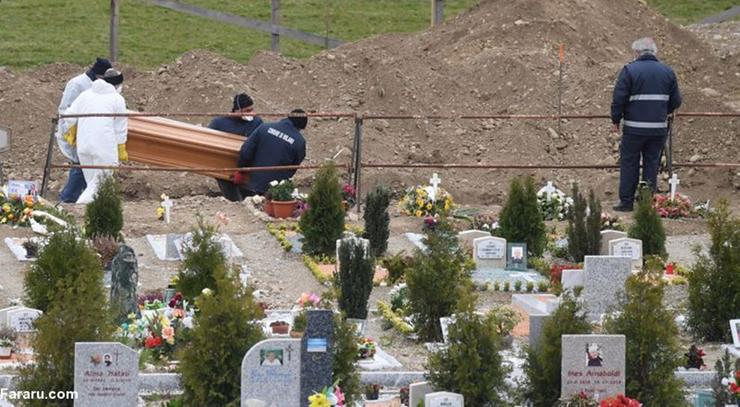دفن جانباختگان کرونا در ایتالیا