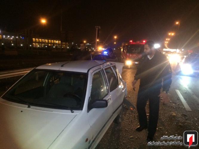 مجروح شدن خانم باردار در سانحه رانندگی