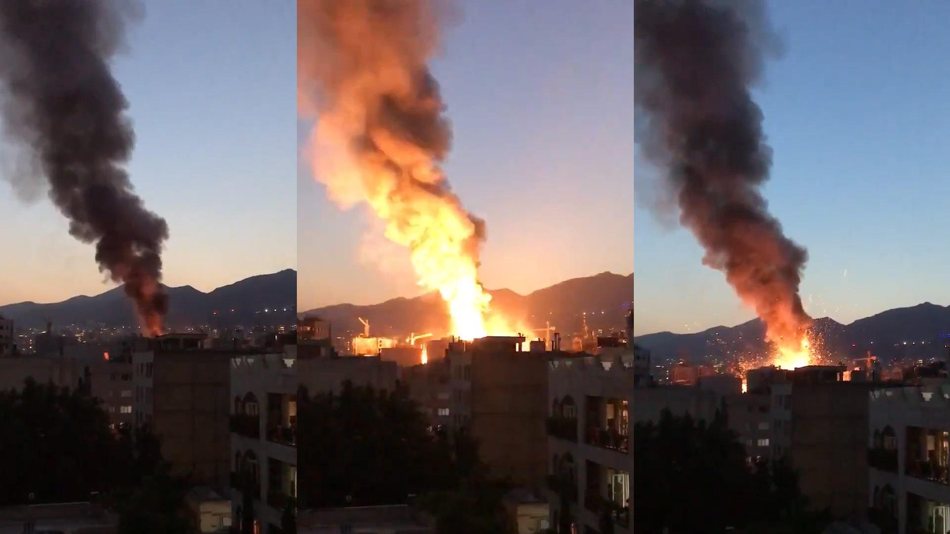 انفجار و آتش سوزی در شمال تهران تجریش