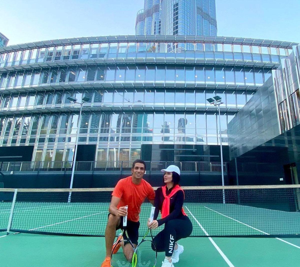ورزش لاکچری سپهر حیدری و همسر ورزشکارش +عکس