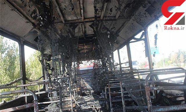 آتش گرفتن اتوبوس با 43 مسافر در جاده مشهد / همدانی ها در محاصره آتش!