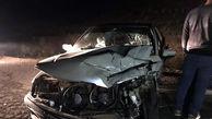 سمند در تصادف با تیرچراغ برق ترکید / زن کرجی جان باخت + عکس