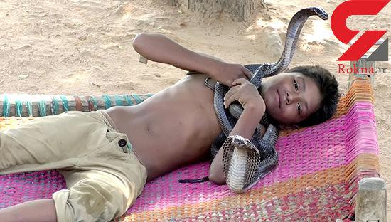 این پسر 7 ساله با مارهای سمی و خطرناک همبازی است ! +عکس های دیدنی