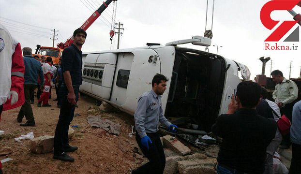راننده اتوبوس واژگون شده در مرودشت دستگیر شد + عکس