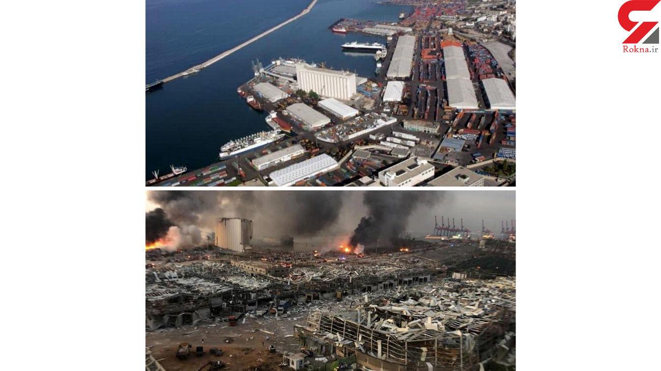 عکس قبل و بعد از انفجار بیروت/ عکس هوایی فاجعه را ببینید