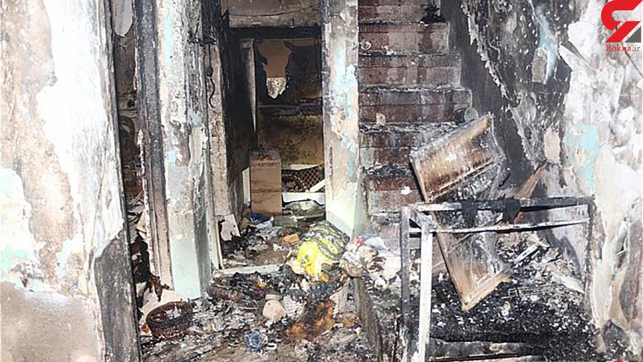 خانه 3 طبقه قدیمی در آتش سوخت / در تهران رخ داد + عکس ها