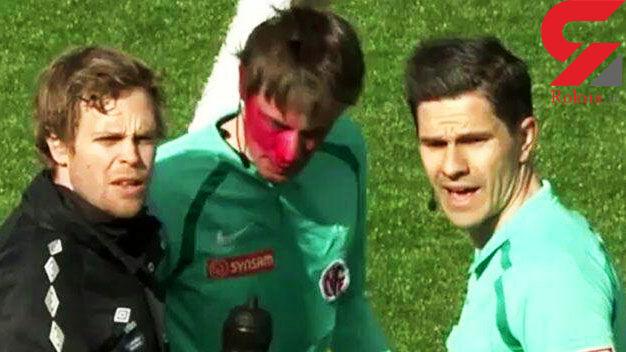 تماشاگر فوتبال داور مسابقه را کور کرد! + فیلم و عکس