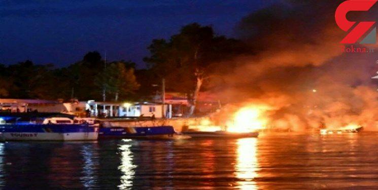 آتش سوزی در اسکله صیادی عسلویه / 3 قایق در آتش سوخت