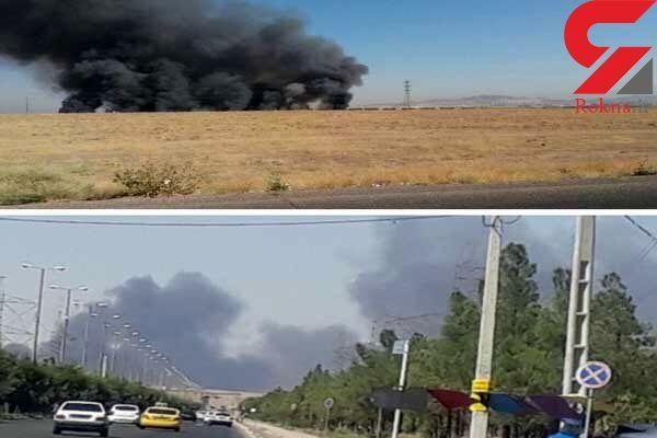 قطار باری در پرند آتش گرفت + عکس