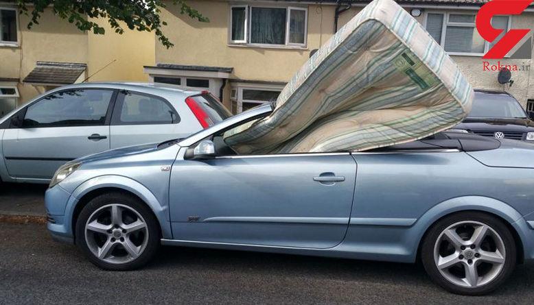 حمل تشک خواب با خودروی لوکس باعث توقیف خودرو شد! + عکس