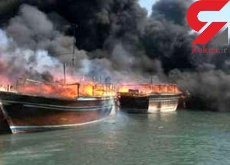 سه لنج باری در بوشهردر آتش سوخت
