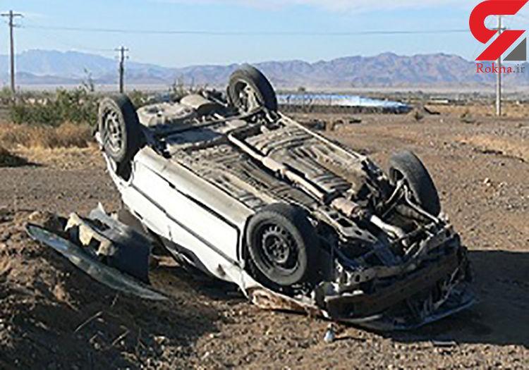 واژگونی خودروی پراید بر اثر سرعت غیرمجاز
