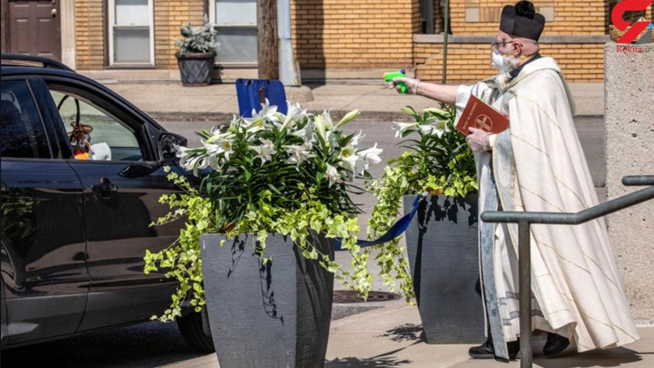 اقدام جنجالی یک کشیش برای فاصله گذاری اجتماعی + عکس