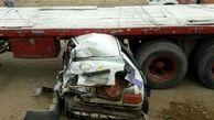 عکس دلخراش / پراید زیر کامیون در جاده بوکان له شد