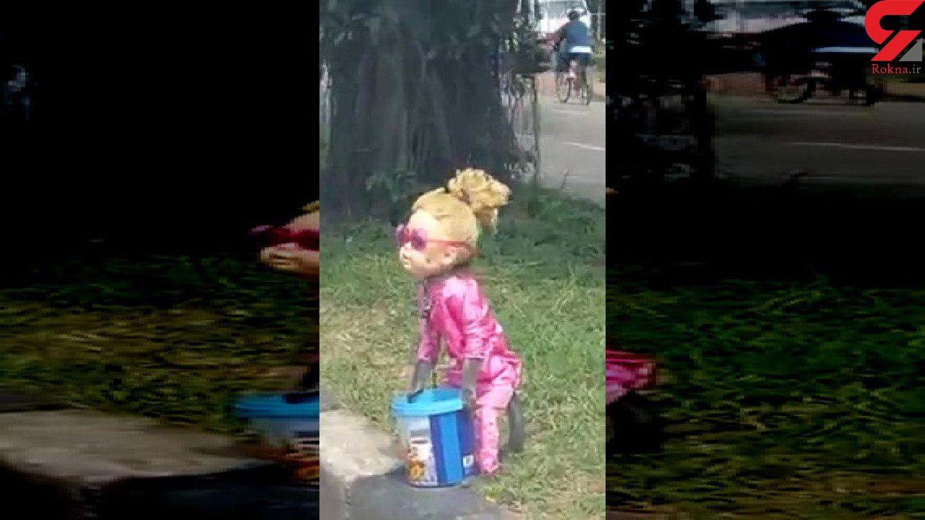 گدایی میمون با گریم دخترانه در خیابان +فیلم