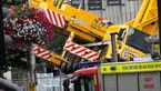 سقوط وحشتناک جرثقیل دریکی از خیابان های انگلستان + تصاویر