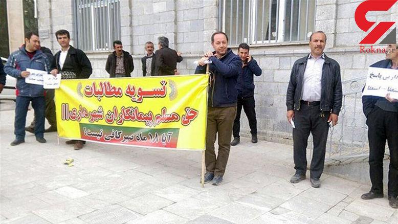 تجمع اعتراضی پیمانکاران شهرداری در سنندج +عکس