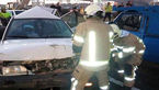 تصادف شدید 4 خودرو در جاده کرج +عکس