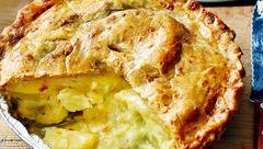 پای سیب زمینی پنیری با عطر سیر+دستور تهیه