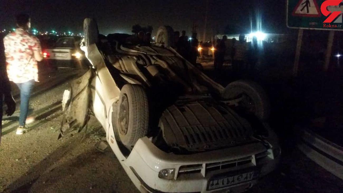 تصادف خونین در جاده اروند صغیر آبادان با 2 مصدوم + فیلم