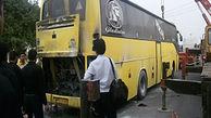 عکس آتش سوزی اتوبوس زائران اربعین در اهواز