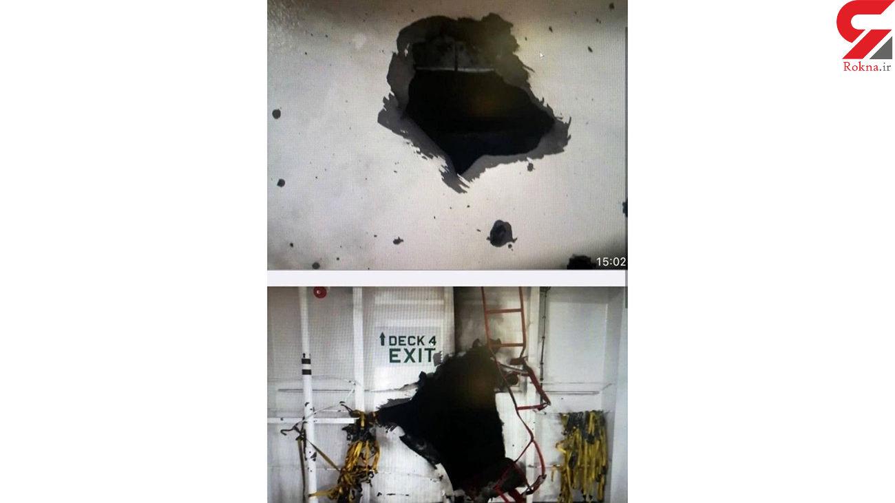 اولین تصاویر از انفجار  بدنه کشتی رژیم صهیونیستی در عمان