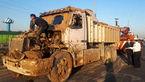 واژگونی وحشت آور در بزرگراه آزادگان / راننده خواب بود که کامیون چپ کرد