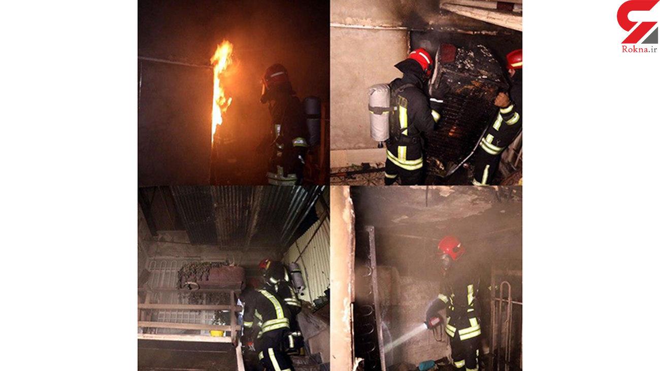 نجات ۴ نفر از میان شعله های آتش با جانفشانی مرد همسایه در مشهد + تصاویر