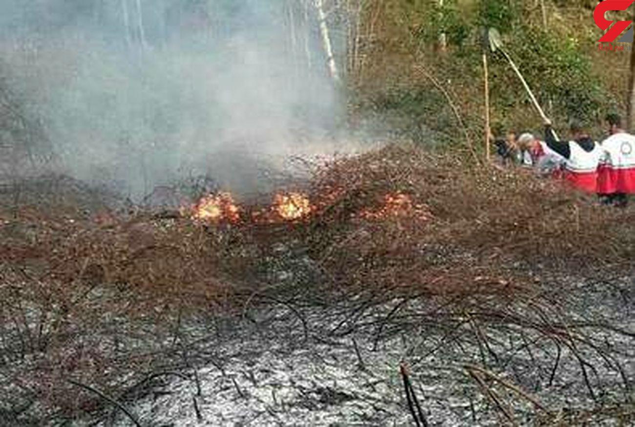 حضور نیروهای پشتیبانی جمعیت هلال احمر در اطفاء حریق جنگل های گیلان