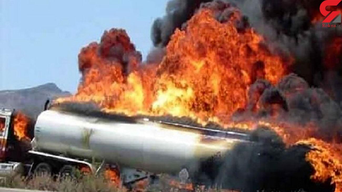 آتش سوزی تانکر سوخت در محور بم _ کرمان/ راننده در آتش سوخت