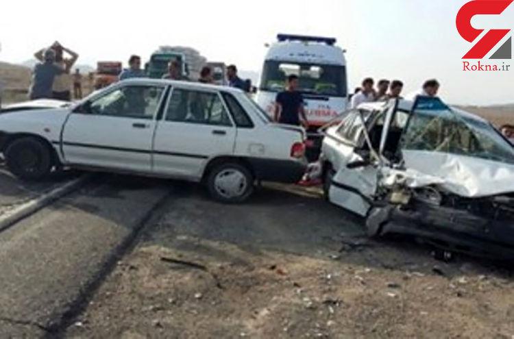 تصادف زنجیره ای پنج خودرو در جوین