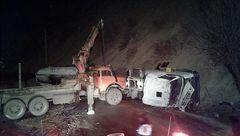تصادف مرگبار 2 کامیون با بارهای مهم در سنندج + عکس