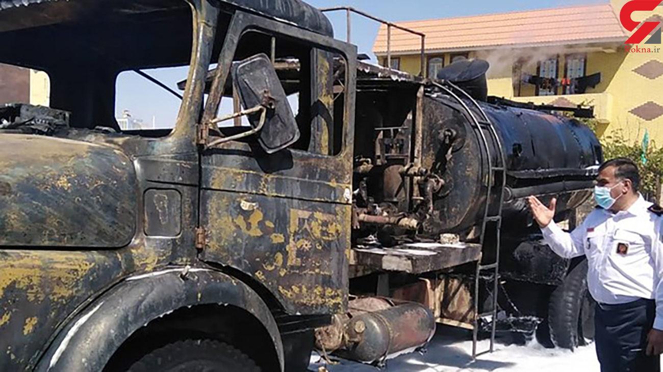 عکس خودروی جزغاله شده شهرداری / راننده از مرگ حتمی برگشت  /یاسوج
