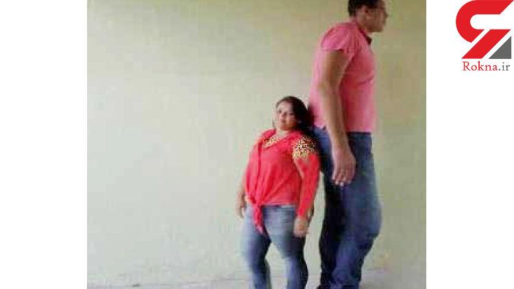 ازدواج دختر 145 سانتی با غول مهربان 233 سانتی+ عکس