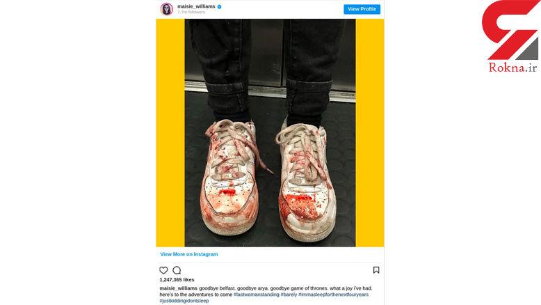 عکس عجیب بازیگر زن معروف با کفش های خونی در اینستاگرام!