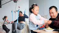 عشق زیبای دختربچه 6 ساله به پدر فلج اش + عکس