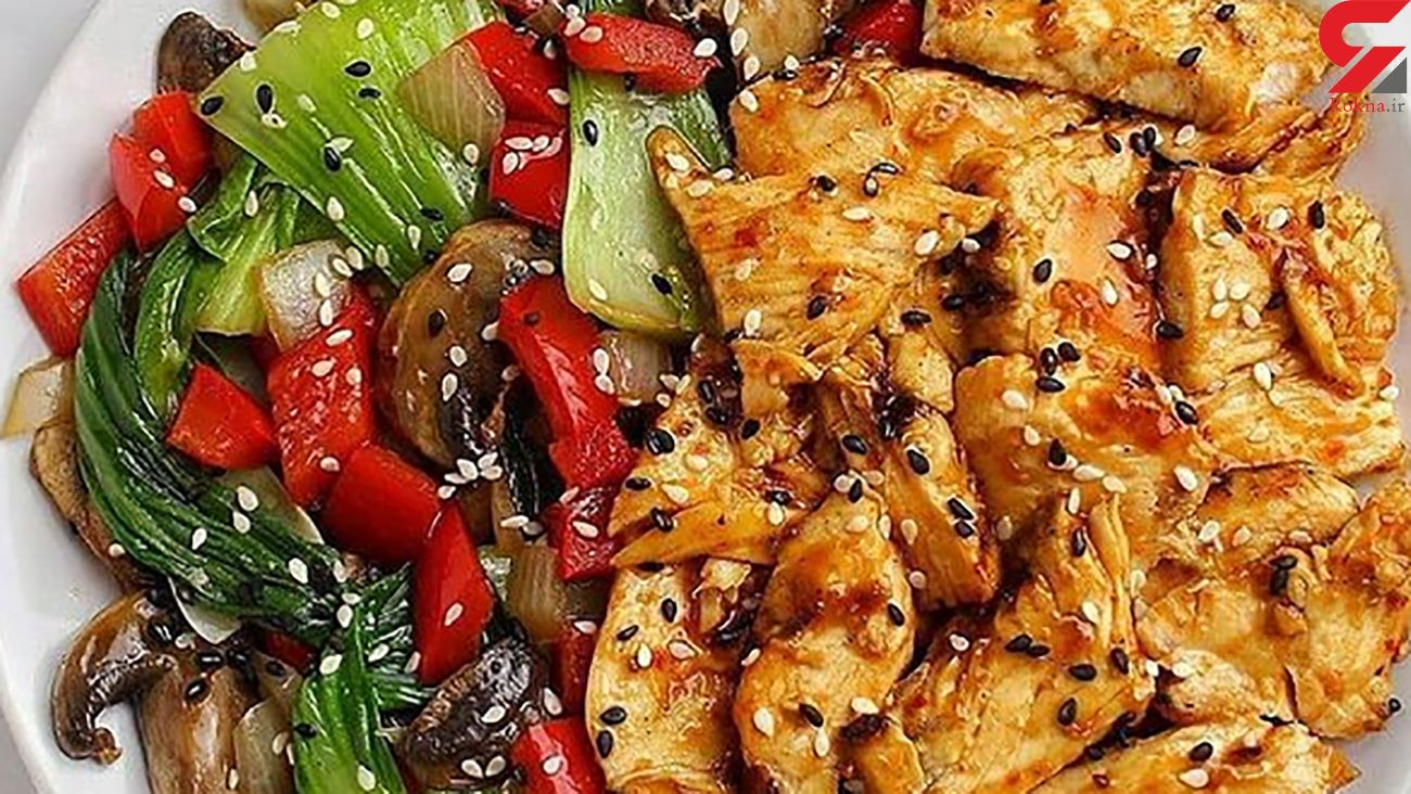 خوراک مرغ و سبزیجات
