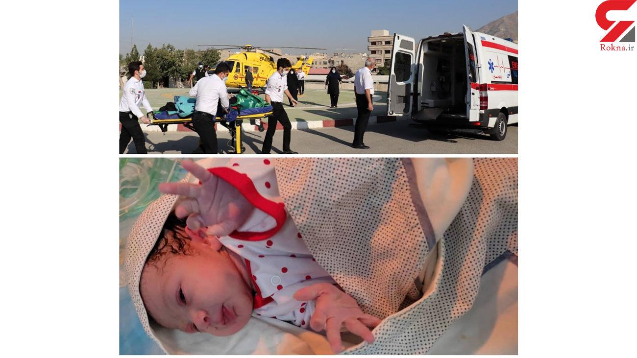 عکس صحنه نجات زن البرزی و نوزادش / پایان ماموریت سخت
