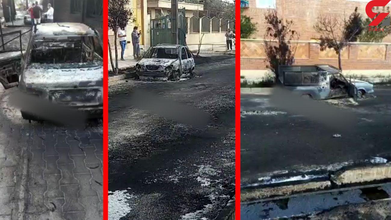 فیلم جزغاله شدن خودروها در آتش سوزی مهیب قم