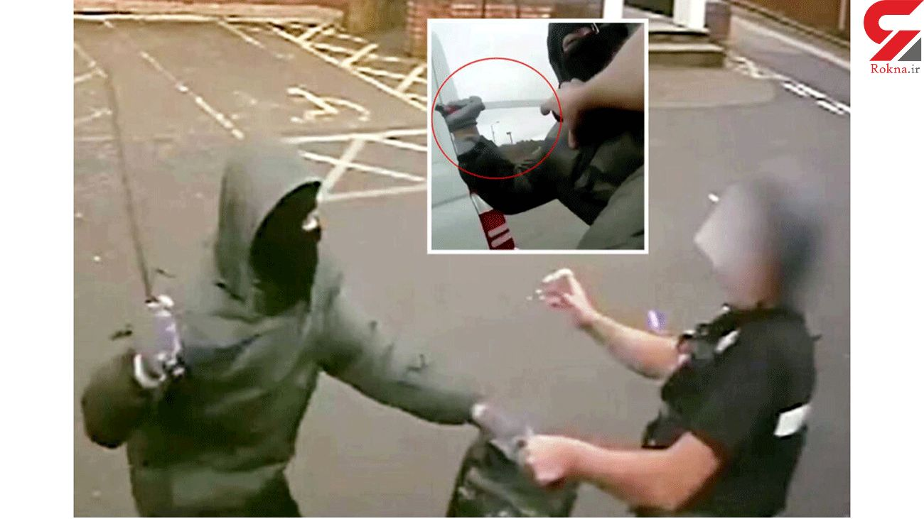 Thug with machete attacks security guard refusing to let go of cash box outside TK Maxx
