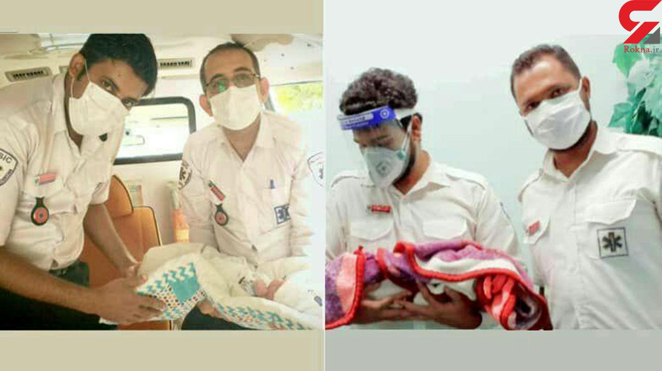 تولد دو نوزاد پسر در آمبولانس اورژانس ۱۱۵ هرمزگان