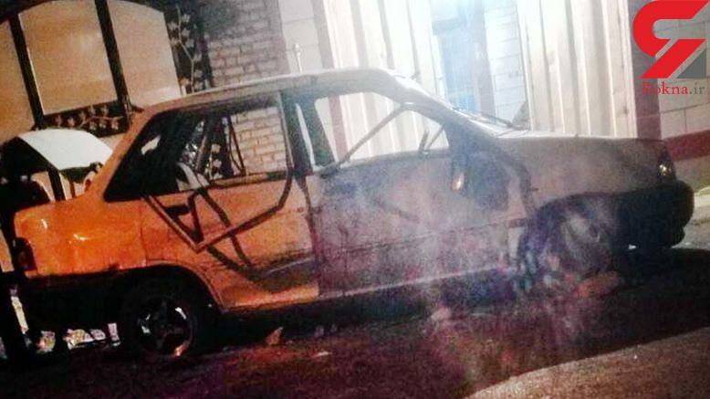 حمله مردان مسلح  به یک پراید در آبادان / سرنشینان پراید فرار کردند +عکس