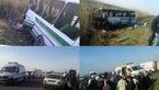واژگونی حادثه ساز مینی بوس در پارس آباد + عکس
