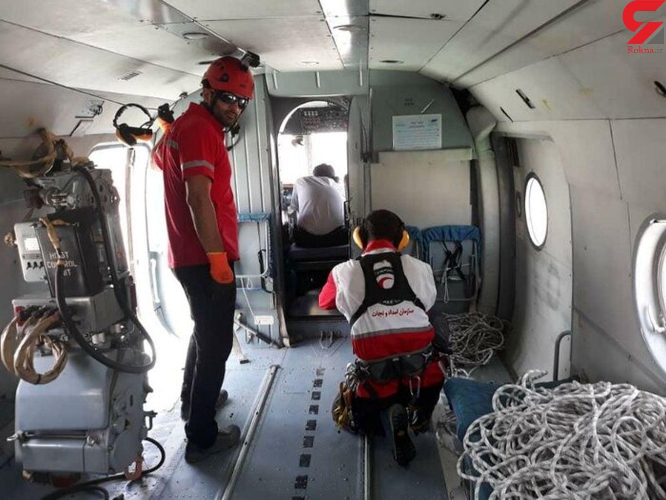 عملیات هوایی برای نجات کوهنورد ۵۰ ساله شمیرانی +  عکس