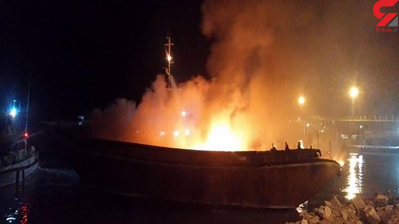 آتش سوزی هولناک در اسکله بندرخمیر + عکس